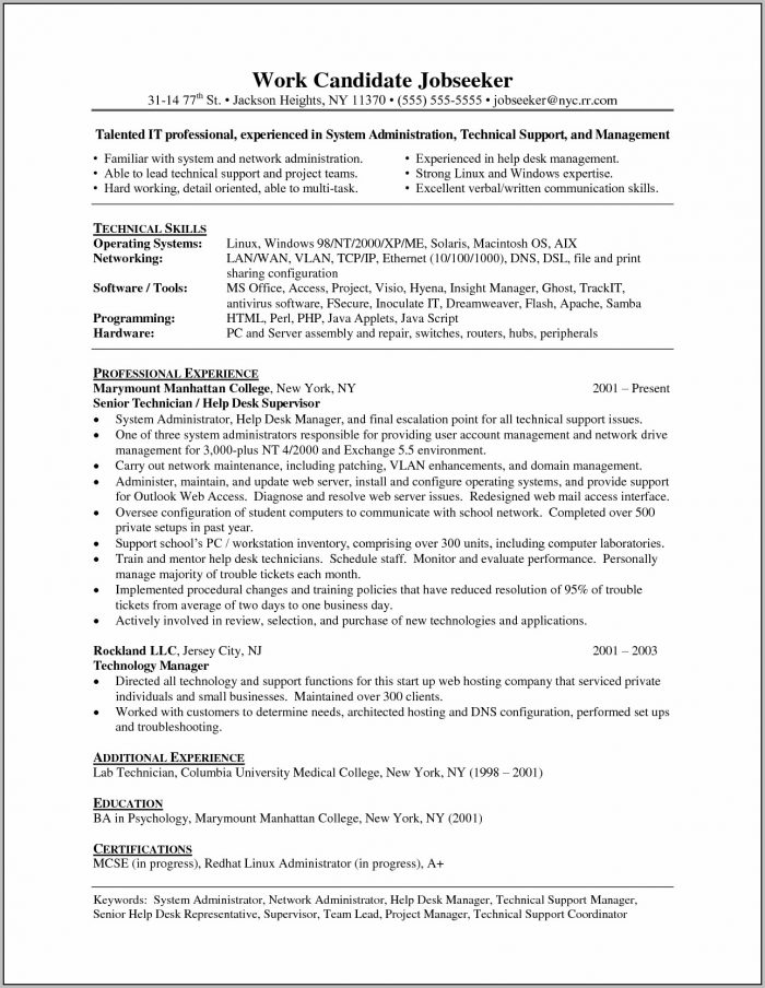Cover Letter Sample Help Desk