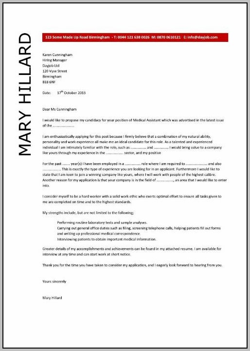 Cover Letters For Resumes Examples For Medical Assistant