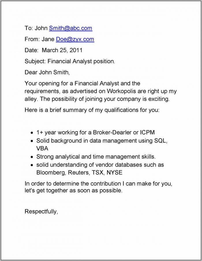 Email Cover Letter For Job Vacancy