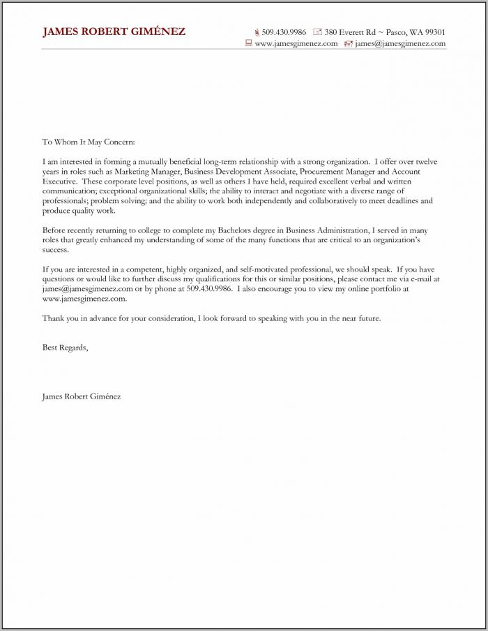 General Cover Letter For Job Example