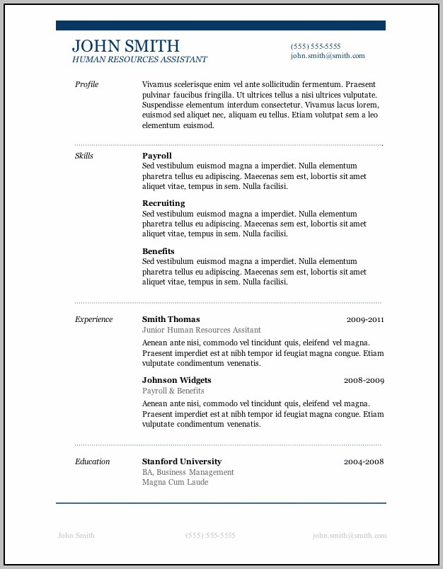 Resume Format Free Download In Ms Word 2003