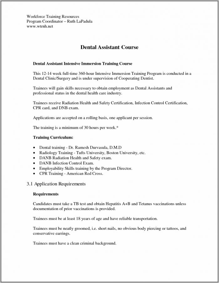 Sample Cover Letter For Resume Dental Assistant