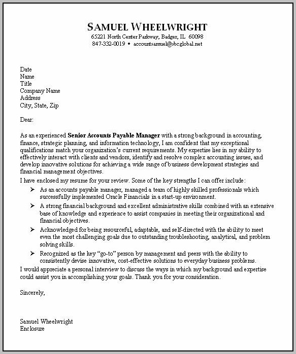 Sample Cover Letter For Resume In Accounting