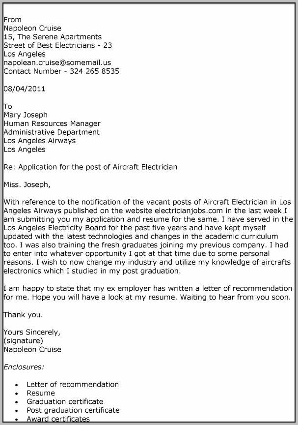 Sample Resume Cover Letter Electrician