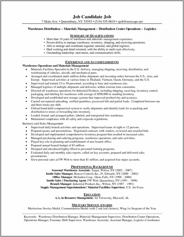 Sample Resume Cover Letter For Operations Manager