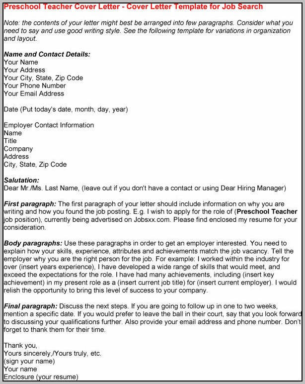 Sample Resume Cover Letter For Preschool Teacher