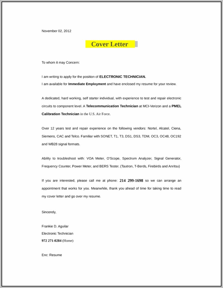 Sample Resume Cover Letter For Technician