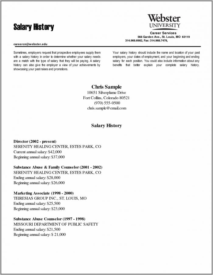 Sample Resume Cover Letter Salary Requirements