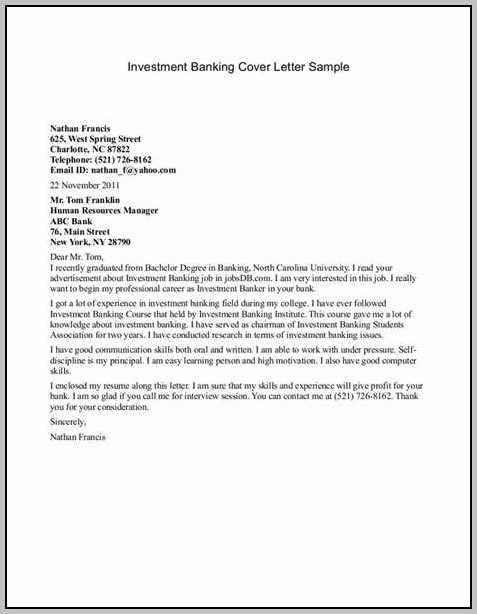 Sample Resume Cover Letters For Banking