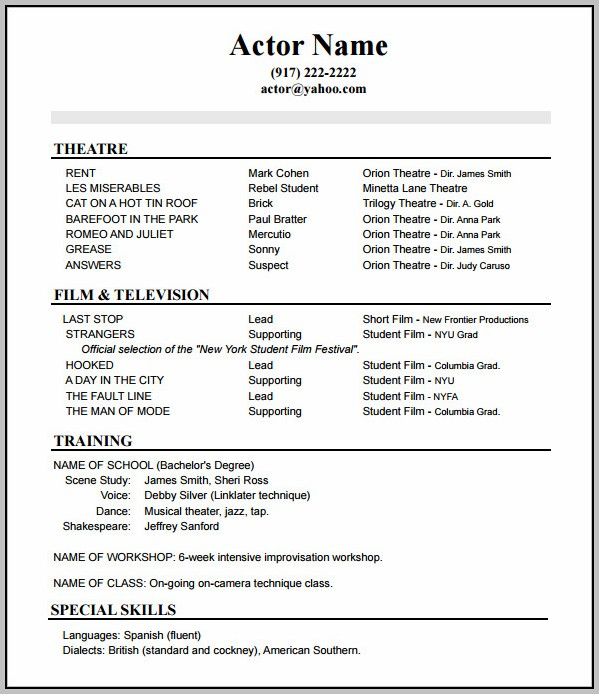 Standard Resume Format For Experienced Free Download