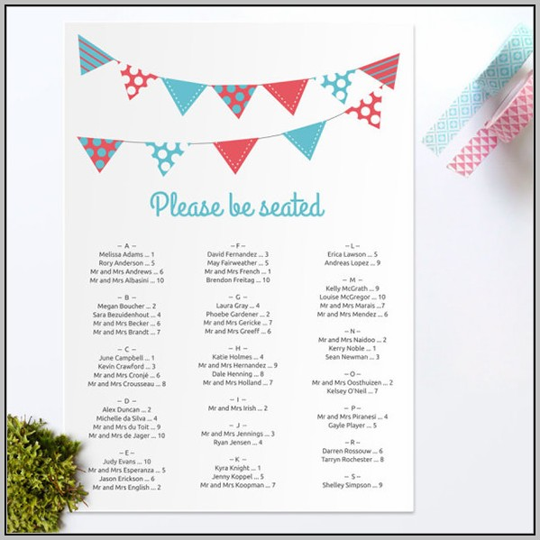 Wedding Seating Chart Template Doc