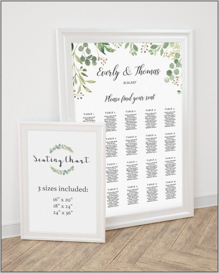 Wedding Seating Chart Template For 8 Person Round Table