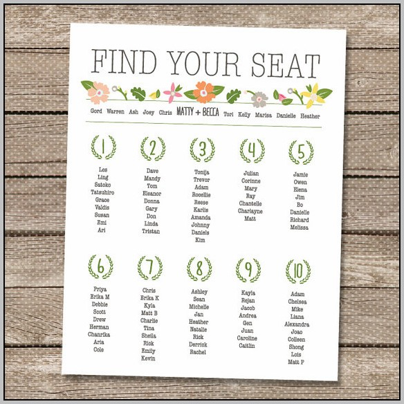 Wedding Seating Chart Template Free Printable