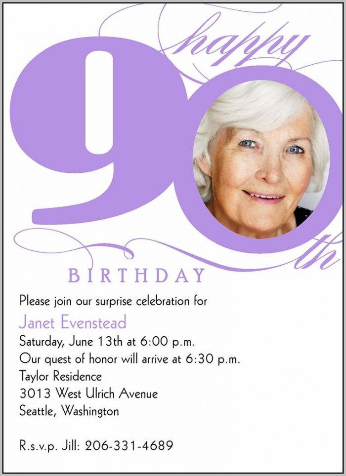 90th Birthday Party Invitation Templates Free