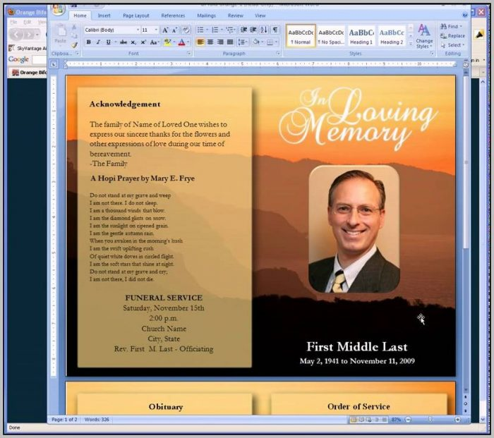 Best Free Funeral Program Template