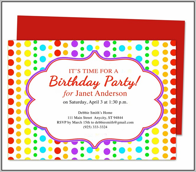Birthday Party Invitation Card Format