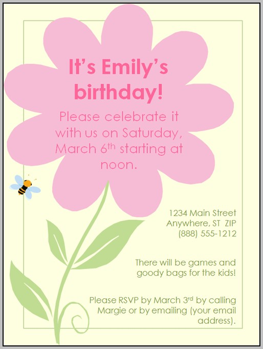 Birthday Party Invitation Template For Free