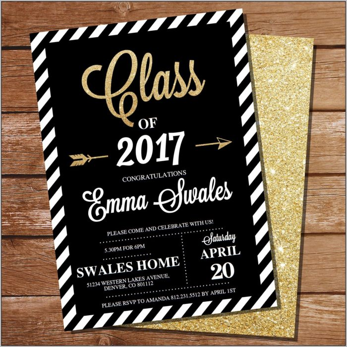 Black And Gold Graduation Invitations