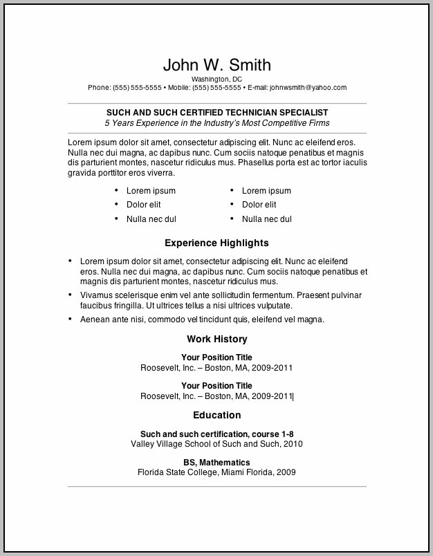 Blank Resume Format Pdf Free Download
