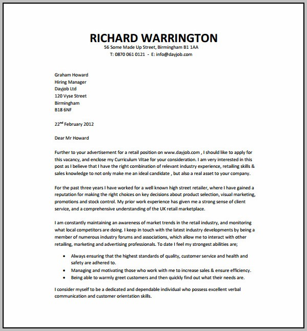 Cover Letter For Resume Sample Free Download
