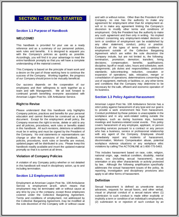 Employee Handbook Sample Cover Page
