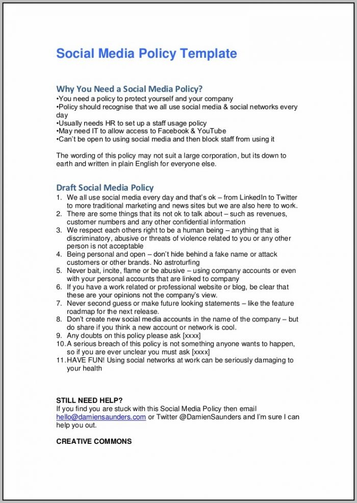 Employee Handbook Sample Social Media Policy