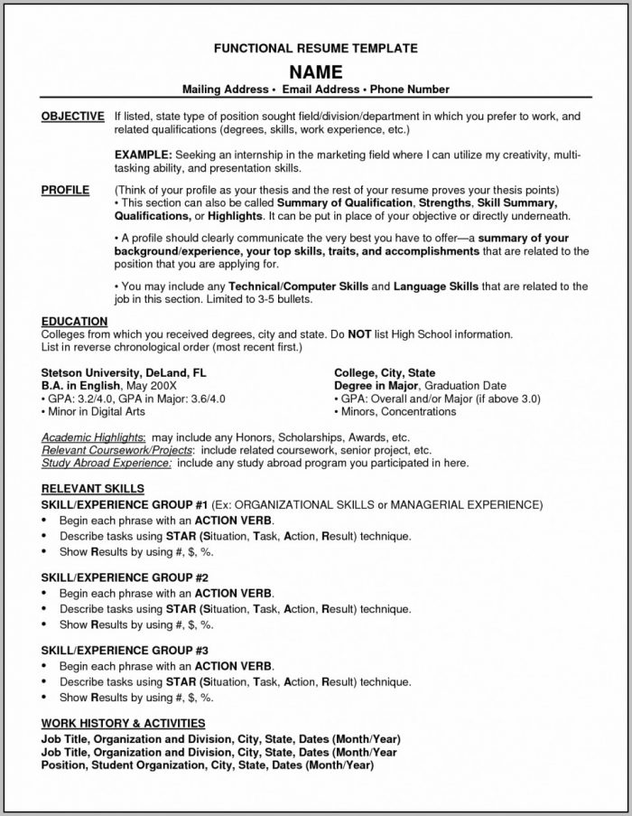 Resume Example Functional Resume Templates Free Format Best With Resume Template Download Free