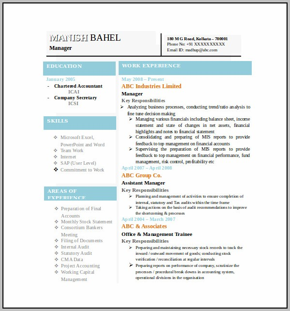 Free Download Word Format Of Resume