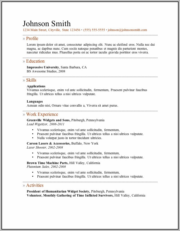 Free Downloadable Resume Formats In Word Format