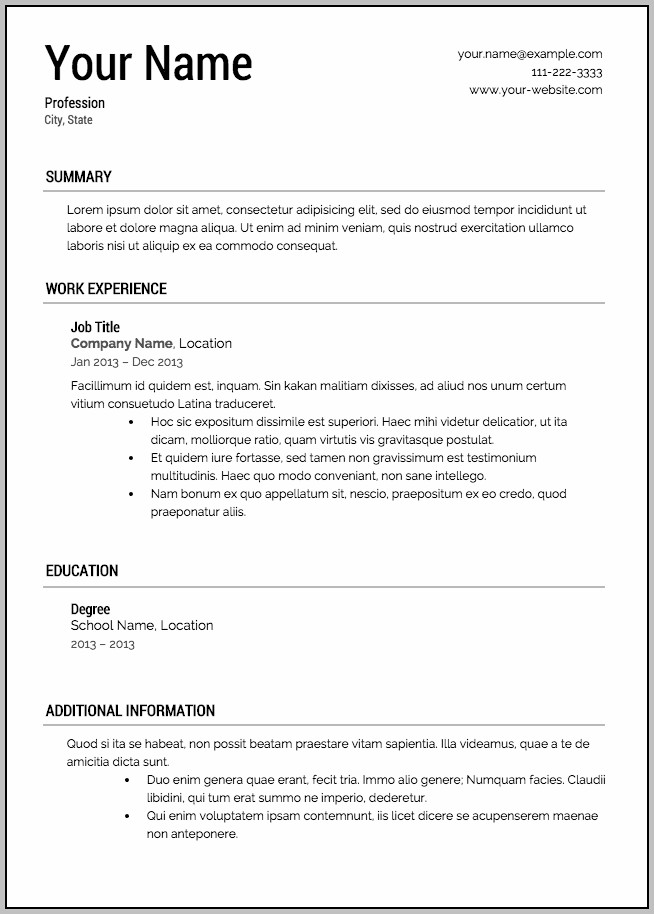 Free Sample Resume Templates Downloadable