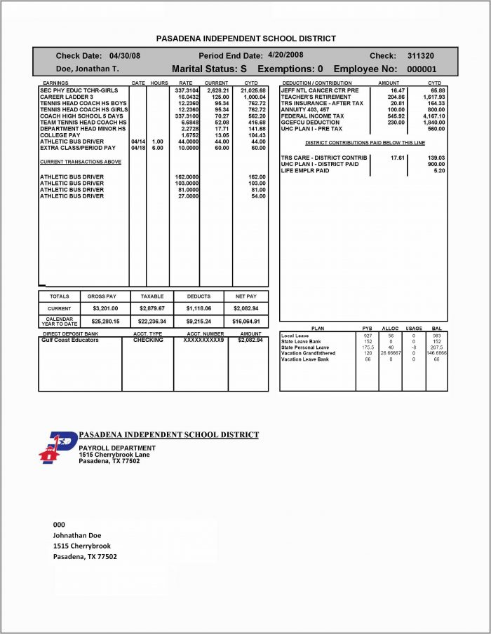 Independent Contractor Check Stub Template