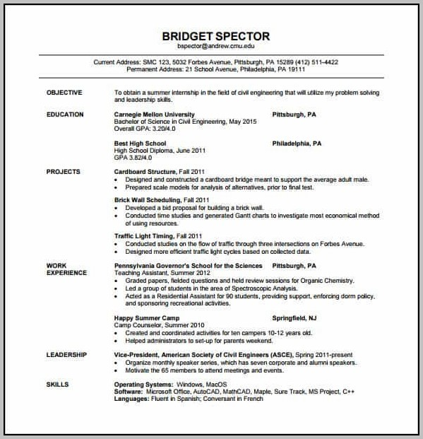 New Resume Format For Engineering Freshers