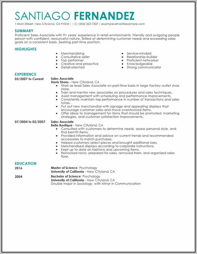 Resume Examples For A Retail Job