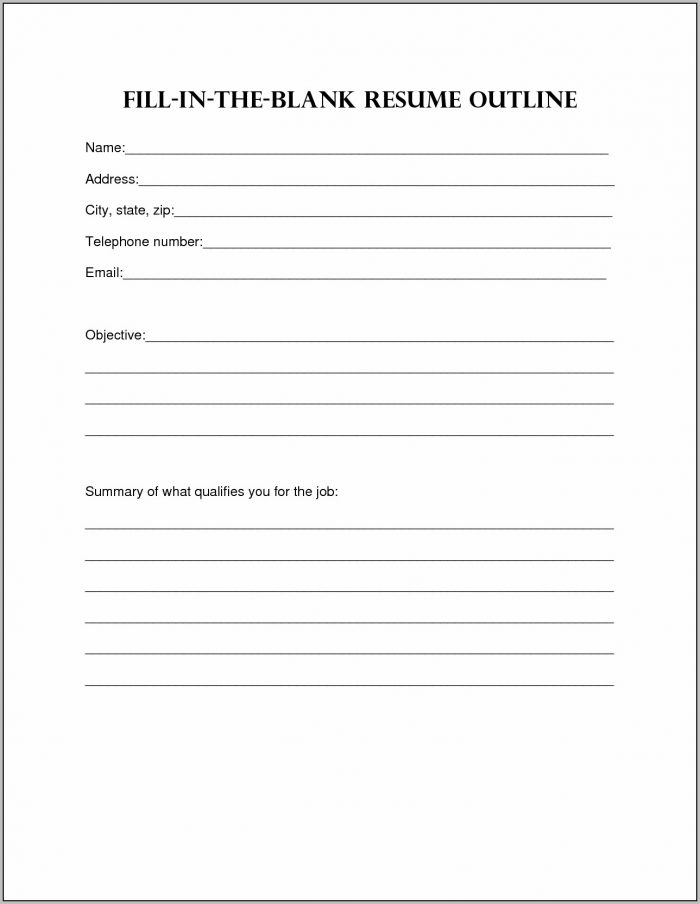 Resume Fill In The Blank Printable