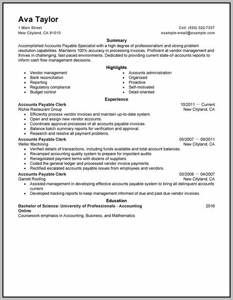 Resume For Accounting Clerk Accounts Payable