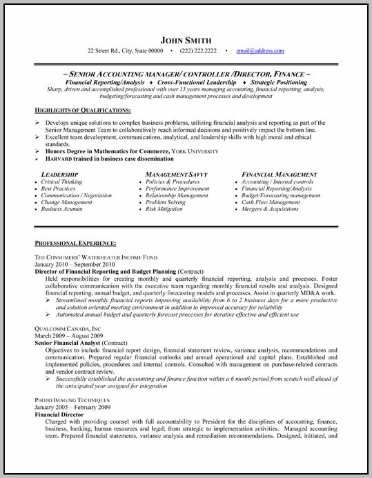 Resume For Accounting Department
