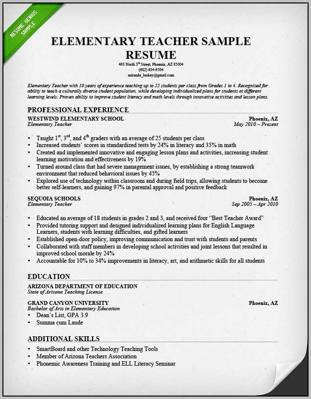 Resume For Teachers Sample Pdf