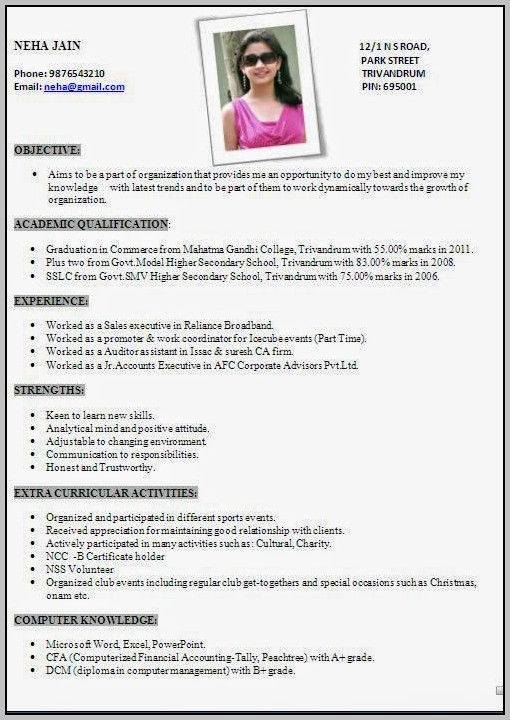 Resume Format Free Download India