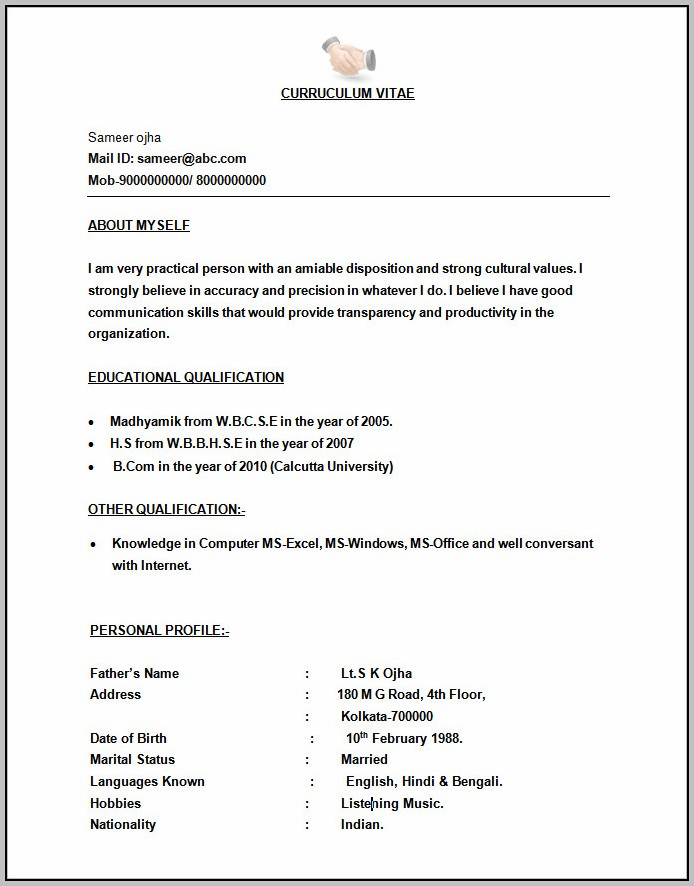 Resume Format Free To Download