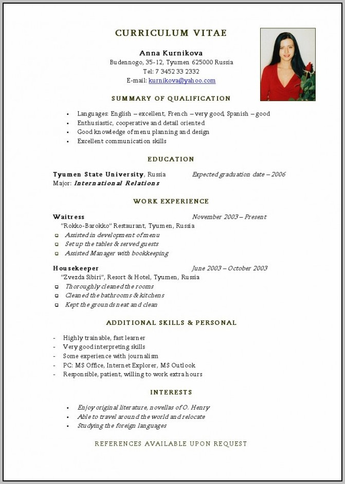 Resume Format Pdf Or Word Download