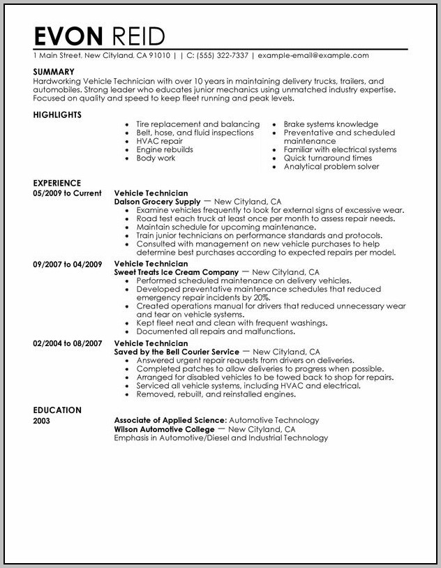 Resume Of Air Conditioner Technician