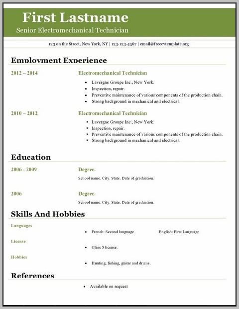 Resume Template Download Free Open Office