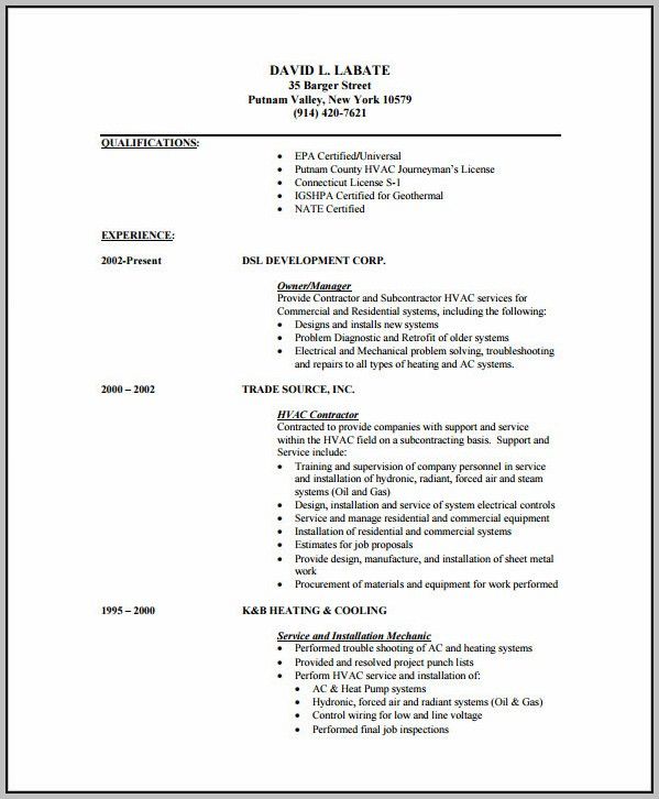 Resume Template For Air Conditioning Technician