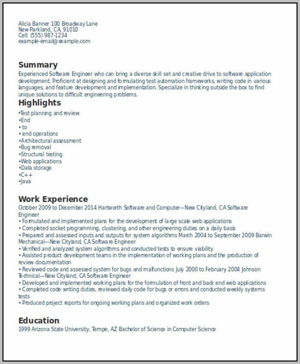 Resume Templates Free Download For Experienced