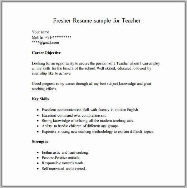 Resume Templates Free Download For Freshers