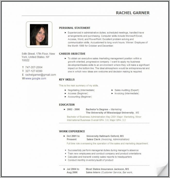 Resume Templates Free Download Word 2003