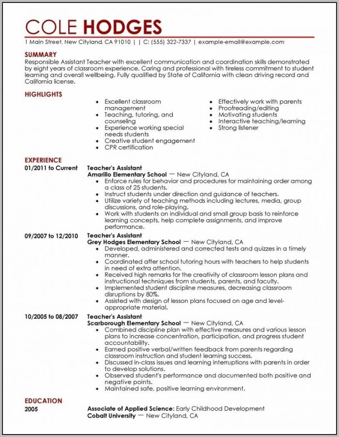 Resumes For Teachers Aides Sample