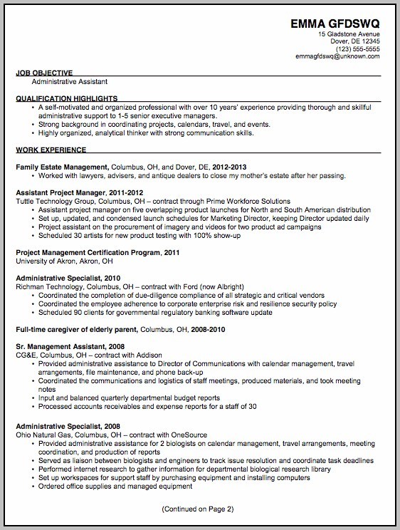 Sample Cv For Administrative Assistant Position