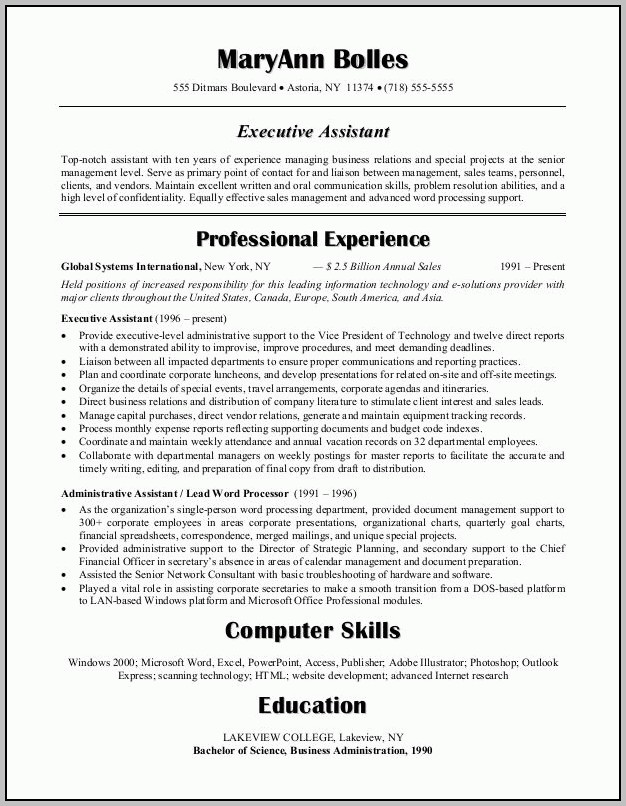 Sample Objective For Administrative Assistant Position