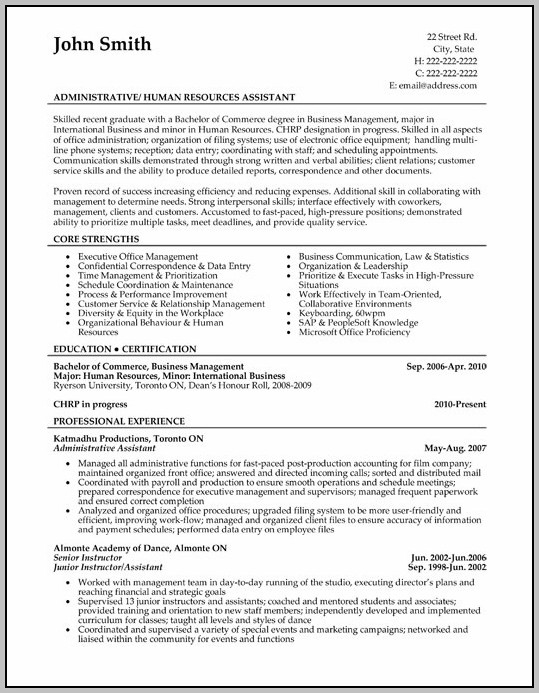 Sample Resume For Administrative Assistant In Canada